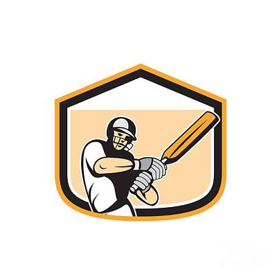 Batsman Digital Art - Cricket Player Batsman Batting Shield Cartoon by Aloysius Patrimonio