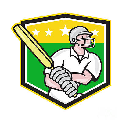 Cricket Player Batsman Batting Shield Star Art Print