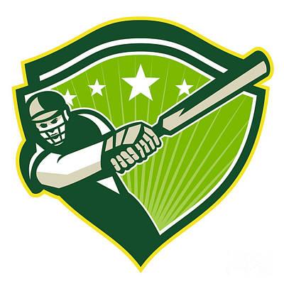 Cricket Player Batsman Star Crest Retro Art Print by Aloysius Patrimonio