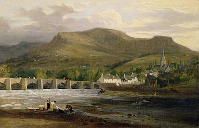Crickhowell, Breconshire, C.1800 Oil On Canvas Art Print