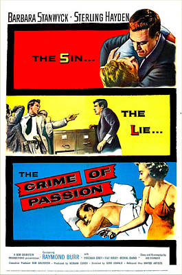 1957 Movies Photograph - Crime Of Passion, Us Poster Art, Top by Everett