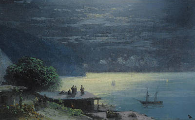 Silver Moonlight Painting - Crimean Coast By Moonlight by Ivan Konstantinovich Aivazovsky