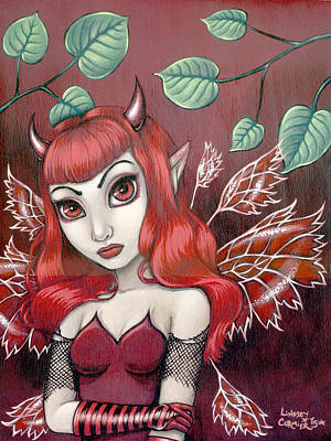 Fantasy Painting - Crimson Beauty  by Lindsey Cormier