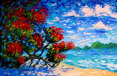 Crimson Bloom Red Flower Tree At The Beach Blue Sky Landscape Art Print