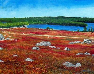 Blueberry Barrens Painting - Crimson Blueberry Barren by William Tremble