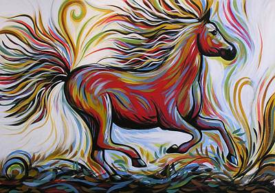 Fast Painting - Crimson Lightning by Amy Giacomelli