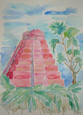 Ancient Civilization Painting - Crimson Mayan Pyramid by KD Martel