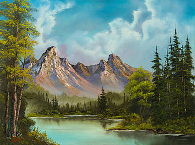 Bob-ross-style Painting - Crimson Mountains by C Steele