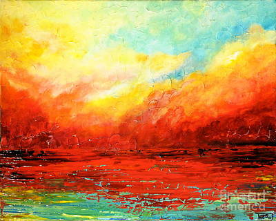 Waterscape Painting - Crimson No.2 by Teresa Wegrzyn