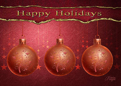 Xmas Cards Digital Art - Crimson Ornaments by Arline Wagner