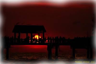 Art Print featuring the digital art Crimson Sunset Painting by Richard Zentner