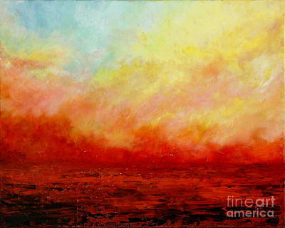 Waterscape Painting - Crimson by Teresa Wegrzyn