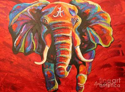 Crimson Tide Elephant Art Print by Cyndi Eastburn