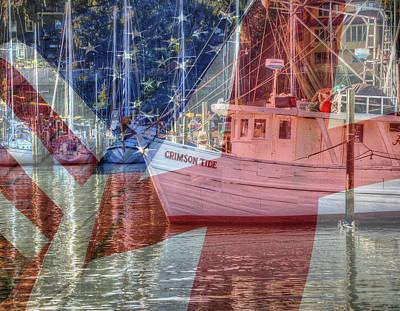 Digital Art - Crimson Tide Flags by Michael Thomas