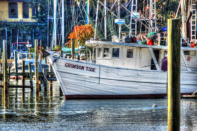 Digital Art - Crimson Tide In Harbor by Michael Thomas