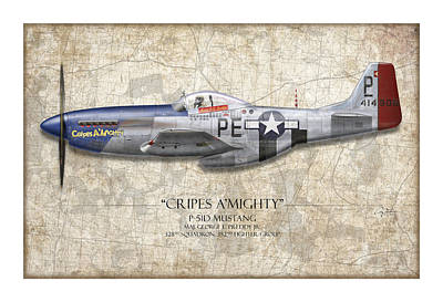 Cripes A Mighty P-51 Mustang - Map Background Art Print by Craig Tinder