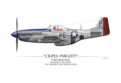 Beige Painting - Cripes A Mighty P-51 Mustang - White Background by Craig Tinder