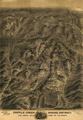 Birdseye Drawing - Antique Map - Cripple Creek Mining District Birdseye Map - 1895 by Eric Glaser