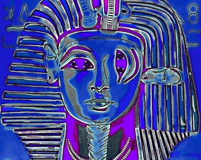 Sphynx Art Painting - Criss Cross Tut Blue by Joe Ciccarone