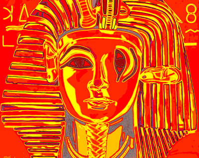 Sphynx Art Painting - Criss Cross Tut Orange by Joe Ciccarone