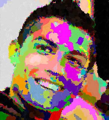 Cristiano Ronaldo Painting - Cristiano Ronaldo - Abstarct by Samuel Majcen