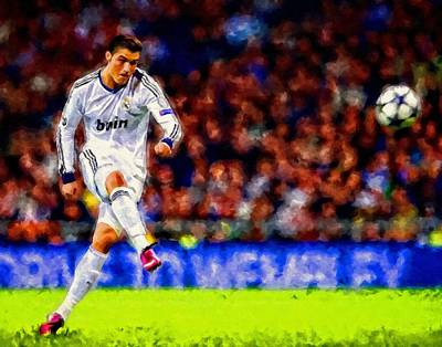 Cristiano Ronaldo Soccer Football Art Painting Landscape Art Print