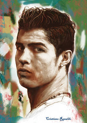 Cristiano Ronaldo Mixed Media - Cristiano Ronaldo Stylised Pop Art Drawing Potrait Poster by Kim Wang