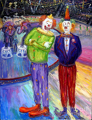 Amusement Parks Painting - Critical Clowns by Arthur Robins