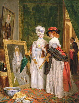 Inspecting Painting - Critics On Costume, Fashions Change by John Callcott Horsley