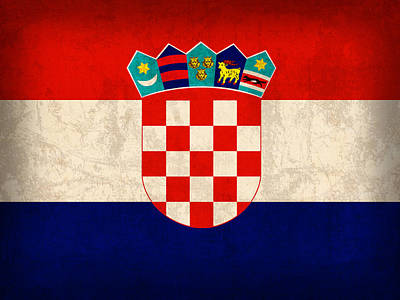 Croatia Mixed Media - Croatia Flag Vintage Distressed Finish by Design Turnpike