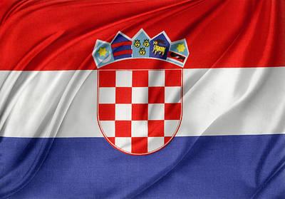 Croatian Flag Art Print by Les Cunliffe
