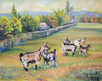 Painting - Croatian Goats by Raija Merila
