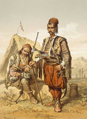Turkish Drawing - Croatian Guards, 1865 by Amadeo Preziosi