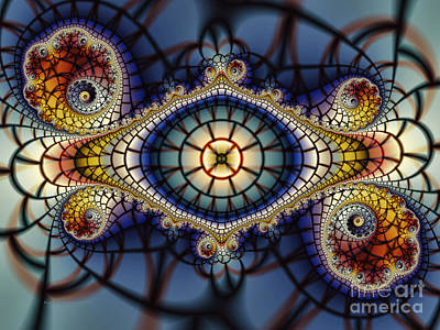 Fractal Geometry Digital Art - Crochet Work-geometric Abstraction by Karin Kuhlmann