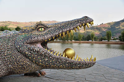 Photograph - Crocodile Sculpture At Wat Pa Huai Lat by Robert Kennett