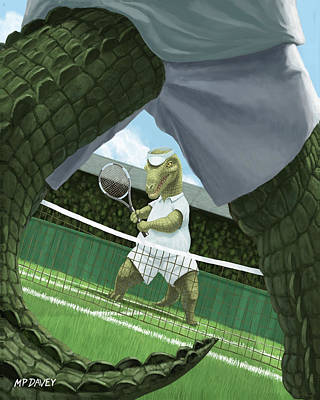 Crocodiles Playing Tennis At Wimbledon  Art Print by Martin Davey