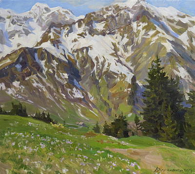 Austria Painting - Crocuses Near The Hochberg Mountain by Victoria Kharchenko