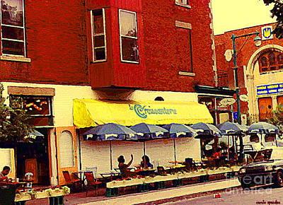 Painting - Croissanterie Figaro Parisian Bistro Sidewalk Cafe C Spandau Montreal Premier City Scene Artist by Carole Spandau