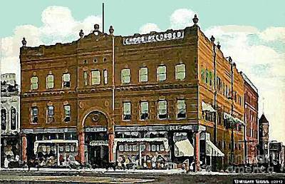Painting - Crook Record Co. And Department Store In Paris Tx 1910 by Dwight Goss