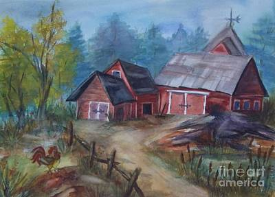 Painting - Crooked Red Barn by Ellen Levinson