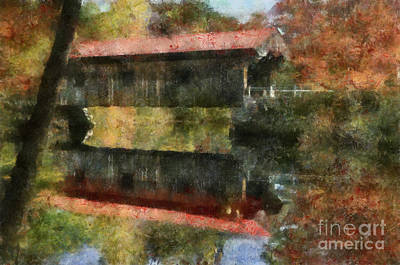 Painting - crooks Road Covered Bridge Amanda ohio by Scott B Bennett
