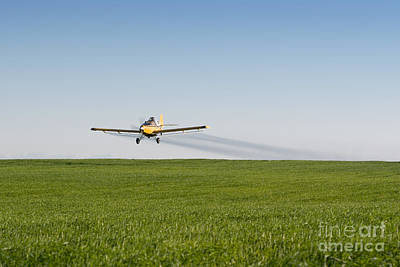 Horizontal Photograph - Crop Duster Airplane Flying Over Farmland by Cindy Singleton