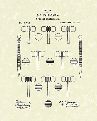 Drawing - Croquet 1872 Patent Art by Prior Art Design