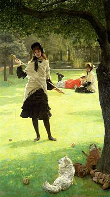 Shawl Painting - Croquet by James Jacques Joseph Tissot