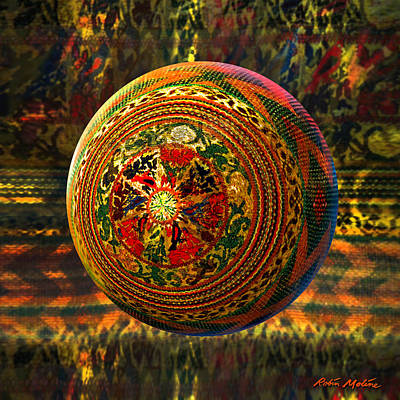 Dimensional Painting - Croquet Crochet Ball by Robin Moline