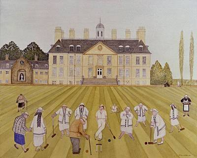 Croquet On The Lawn, 1989 Watercolour On Paper Art Print by Gillian Lawson