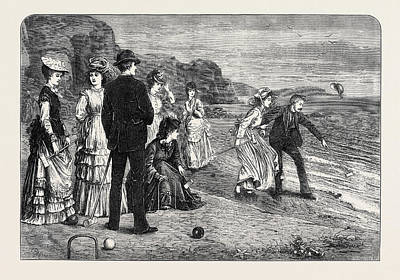 Water Activity Drawing - Croquet Under Difficulties 1871 by English School
