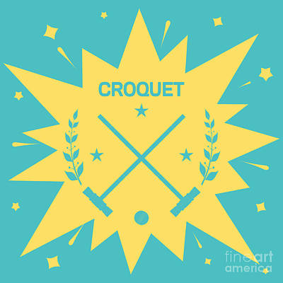 Equipment Wall Art - Digital Art - Croquet. Vintage Background With Clubs by Vectorok