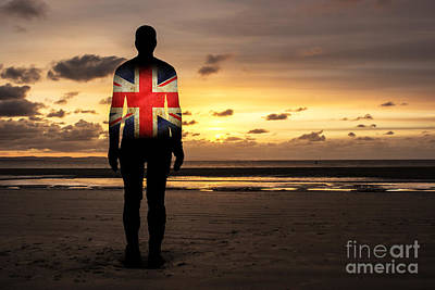 Another Place Photograph - Crosby Beach Iron Man With Union Jack Flag by Paul Madden