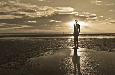 Antony Gormley Photograph - Crosby Beach Sepia Sunset by Paul Madden